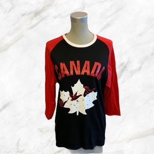 "🇨🇦Weathergear   ""Canada"" Black Baseball Tee"
